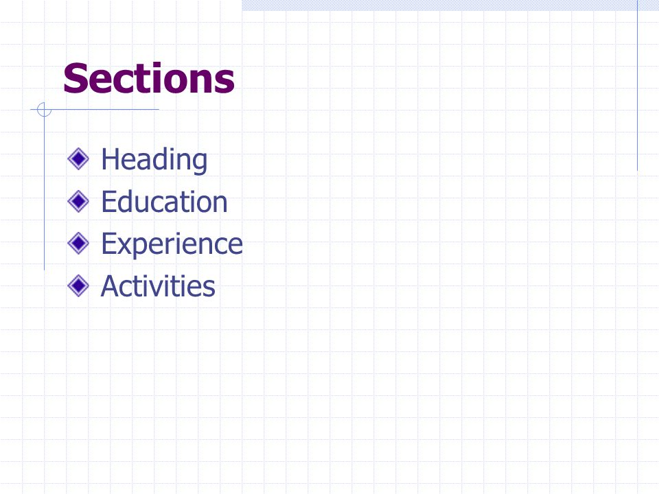 Sections Heading Education Experience Activities