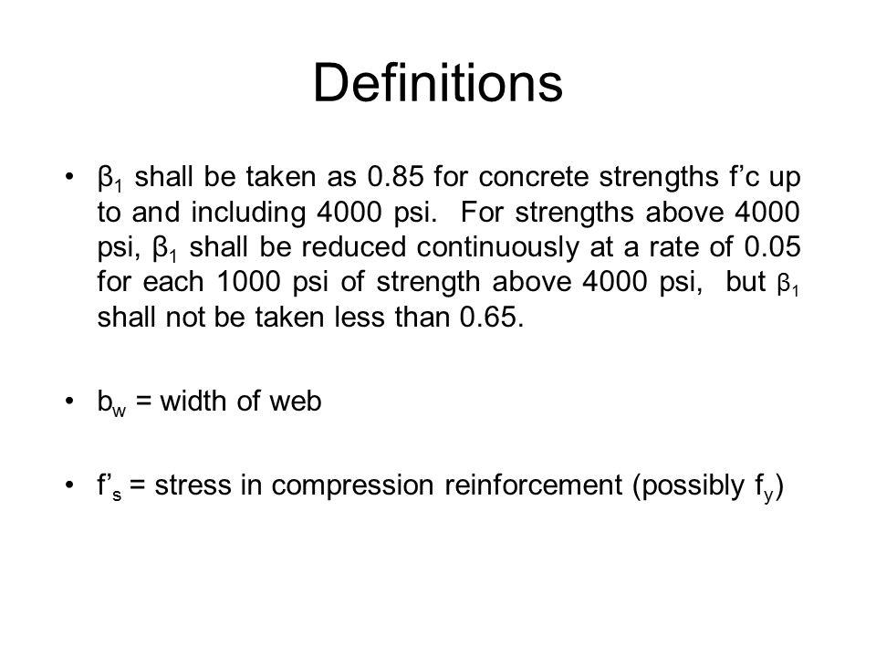 With No Compression Steel… A s f y = 0.85f' c a b w For most beams, 5/6 ≤ j ≤ 19/20
