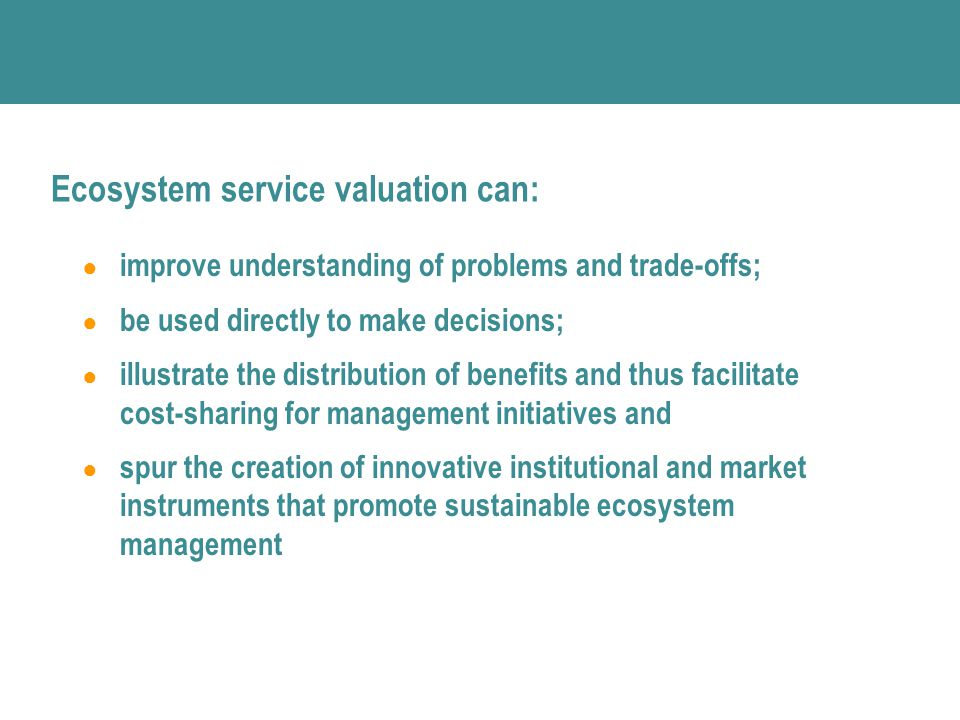 Ecosystem service valuation can: ● improve understanding of problems and trade-offs; ● be used directly to make decisions; ● illustrate the distribution of benefits and thus facilitate cost-sharing for management initiatives and ● spur the creation of innovative institutional and market instruments that promote sustainable ecosystem management