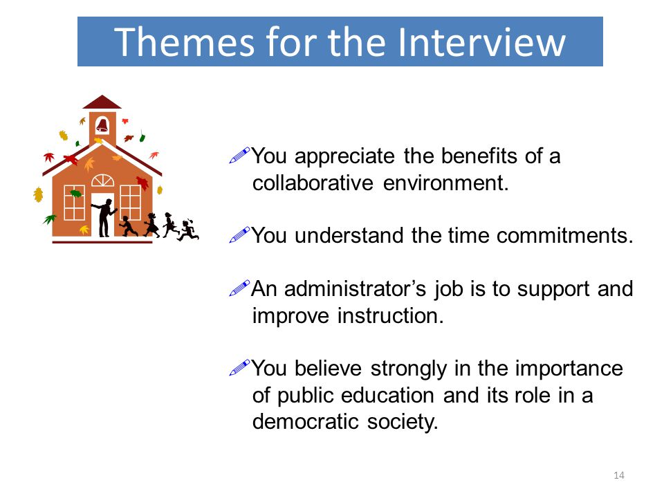 Themes for the Interview 14  You appreciate the benefits of a collaborative environment.