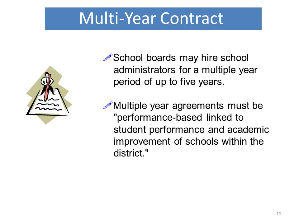 Multi-Year Contract 19  School boards may hire school administrators for a multiple year period of up to five years.