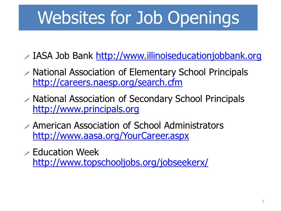 Websites for Job Openings  IASA Job Bank http://www.illinoiseducationjobbank.orghttp://www.illinoiseducationjobbank.org  National Association of Ele