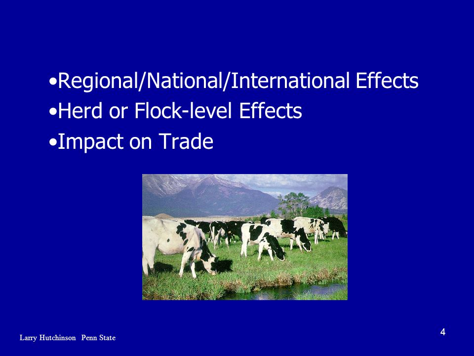 4 Regional/National/International Effects Herd or Flock-level Effects Impact on Trade Larry Hutchinson Penn State