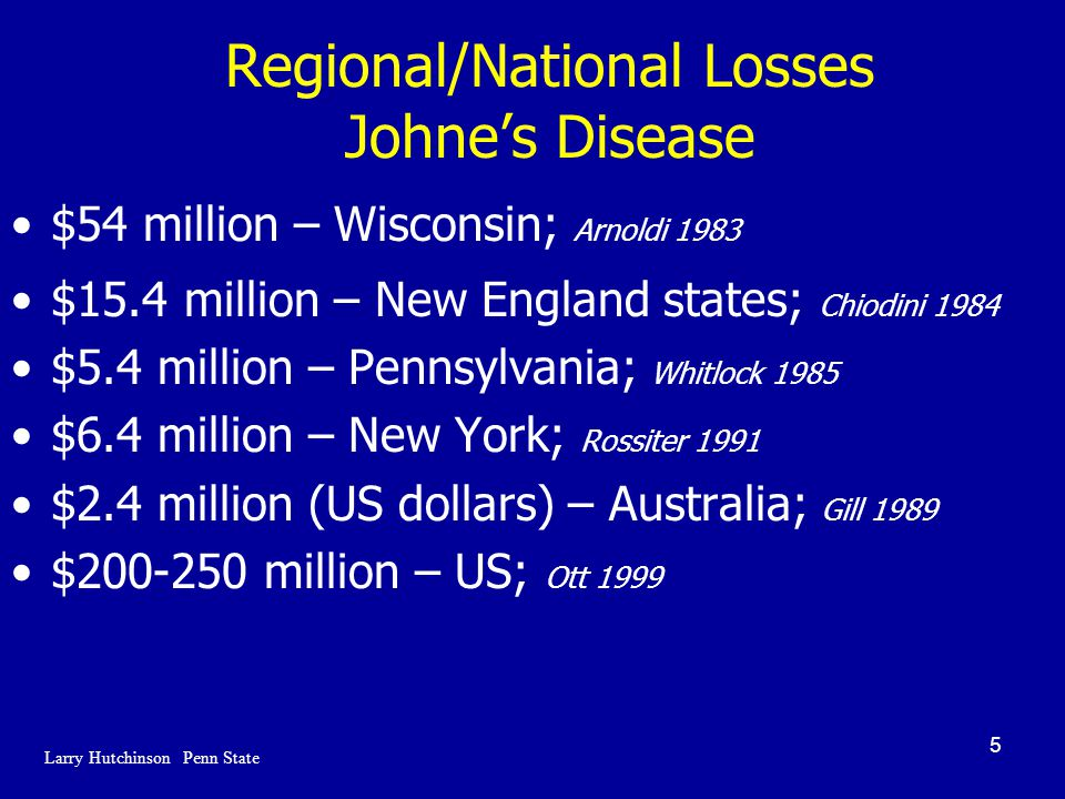 5 Regional/National Losses Johne's Disease $54 million – Wisconsin; Arnoldi 1983 $15.4 million – New England states; Chiodini 1984 $5.4 million – Pennsylvania; Whitlock 1985 $6.4 million – New York; Rossiter 1991 $2.4 million (US dollars) – Australia; Gill 1989 $200-250 million – US; Ott 1999 Larry Hutchinson Penn State