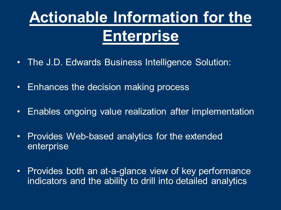Actionable Information for the Enterprise The J.D.