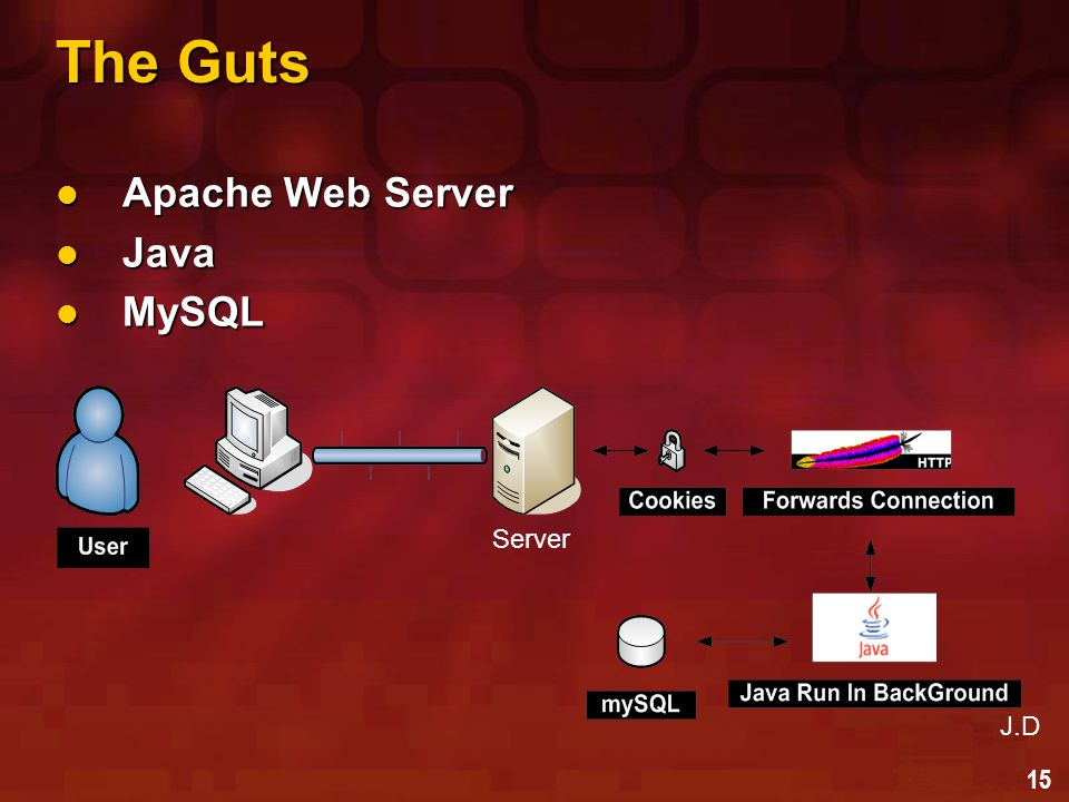 15 The Guts Apache Web Server Apache Web Server Java Java MySQL MySQL Server J.D