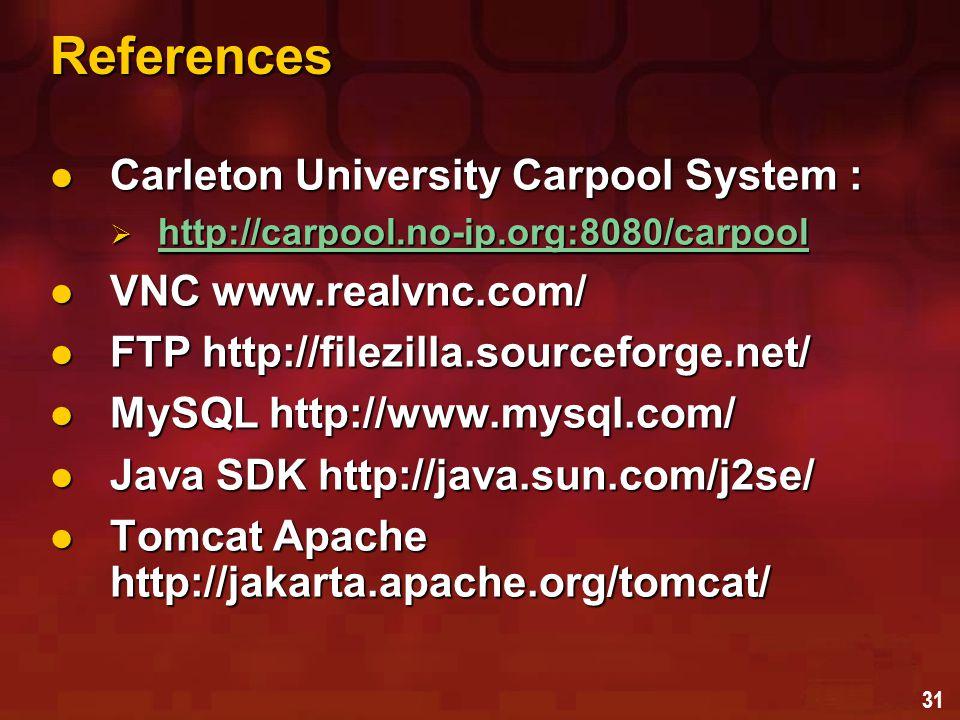 31 References Carleton University Carpool System : Carleton University Carpool System :  http://carpool.no-ip.org:8080/carpool http://carpool.no-ip.o