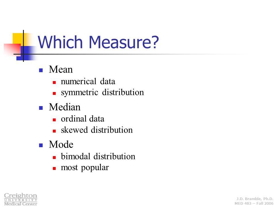 J.D. Bramble, Ph.D. MED 483 – Fall 2006 Which Measure? Mean numerical data symmetric distribution Median ordinal data skewed distribution Mode bimodal