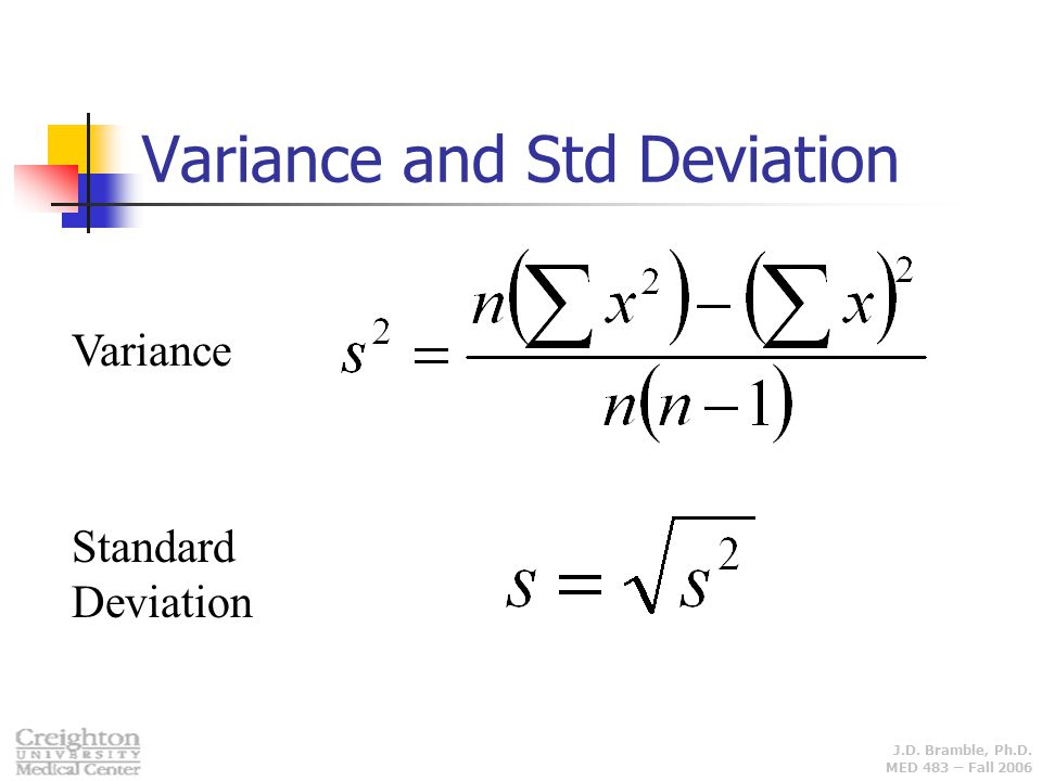 J.D. Bramble, Ph.D. MED 483 – Fall 2006 Variance and Std Deviation Variance Standard Deviation