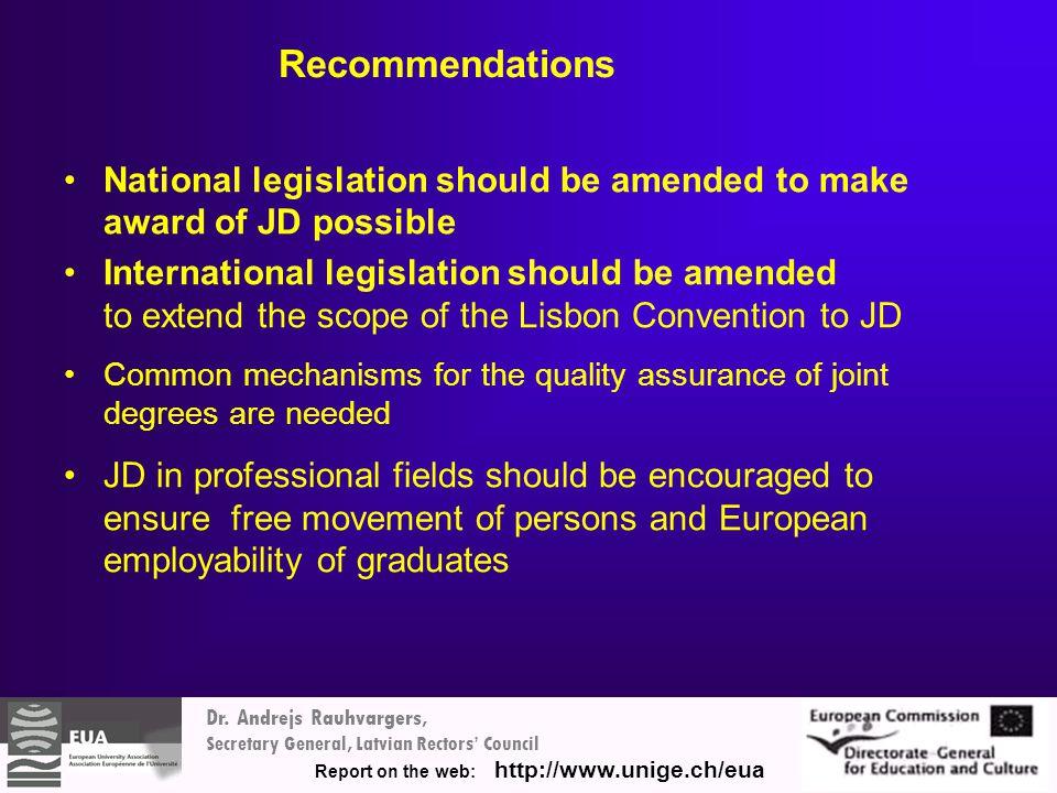 Dr. Andrejs Rauhvargers, Secretary General, Latvian Rectors' Council Report on the web: http://www.unige.ch/eua Recommendations National legislation s