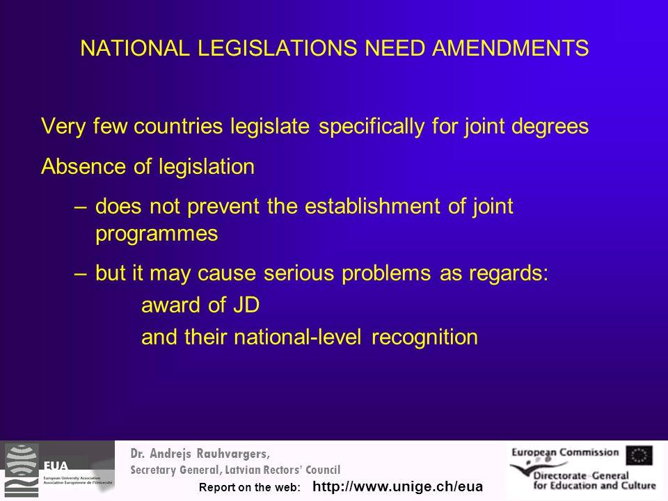 Dr. Andrejs Rauhvargers, Secretary General, Latvian Rectors' Council Report on the web: http://www.unige.ch/eua NATIONAL LEGISLATIONS NEED AMENDMENTS