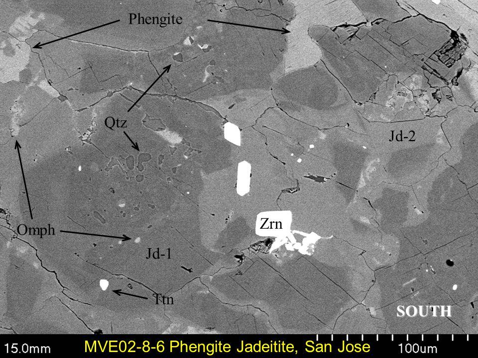 Jd-1 Jd-2 Zrn Phengite Qtz MVE02-8-6 Phengite Jadeitite, San Jose Ttn Omph SOUTH