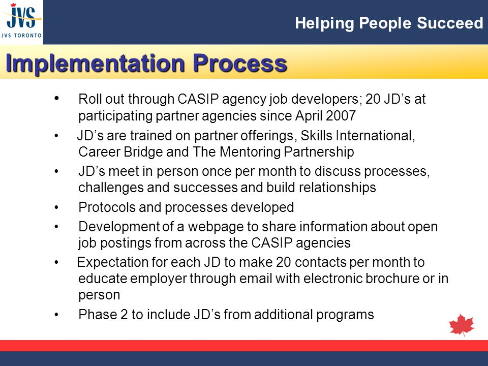 Helping People Succeed Implementation Process Roll out through CASIP agency job developers; 20 JD's at participating partner agencies since April 2007 JD's are trained on partner offerings, Skills International, Career Bridge and The Mentoring Partnership JD's meet in person once per month to discuss processes, challenges and successes and build relationships Protocols and processes developed Development of a webpage to share information about open job postings from across the CASIP agencies Expectation for each JD to make 20 contacts per month to educate employer through email with electronic brochure or in person Phase 2 to include JD's from additional programs
