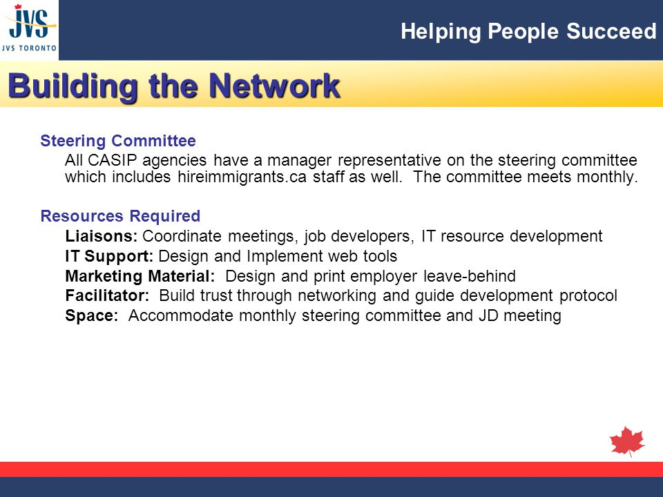 Helping People Succeed Building the Network Steering Committee All CASIP agencies have a manager representative on the steering committee which includes hireimmigrants.ca staff as well.