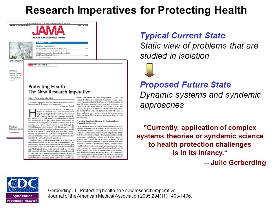 Syndemics Prevention Network Research Imperatives for Protecting Health Gerberding JL. Protecting health: the new research imperative. Journal of the
