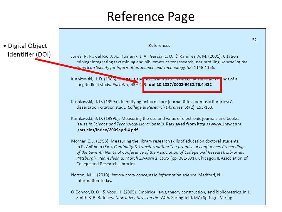 DOIs References Jones, R. N., del Rio, J. A., Humenik, J.