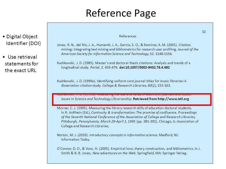 Retrieval statements References Jones, R. N., del Rio, J.