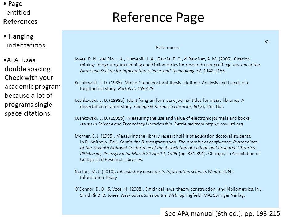 Double spacing or single spacing References Jones, R.
