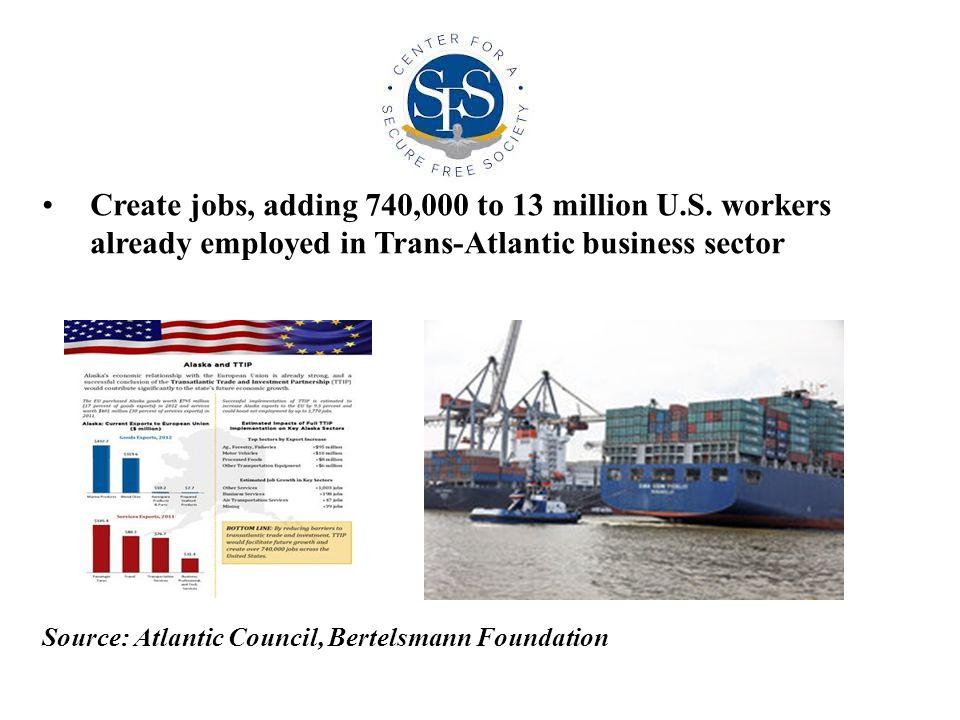 Create jobs, adding 740,000 to 13 million U.S.