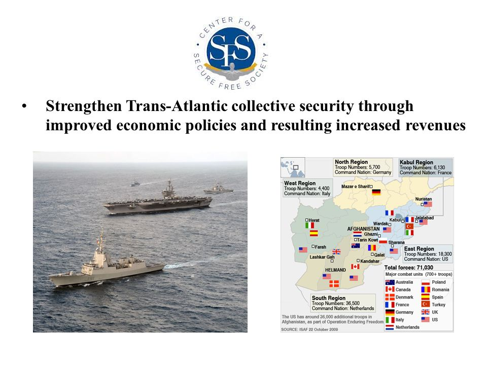 Strengthen Trans-Atlantic collective security through improved economic policies and resulting increased revenues