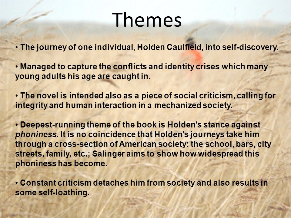 Themes The journey of one individual, Holden Caulfield, into self-discovery. Managed to capture the conflicts and identity crises which many young adu