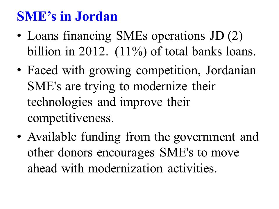 Loans financing SMEs operations JD (2) billion in 2012.
