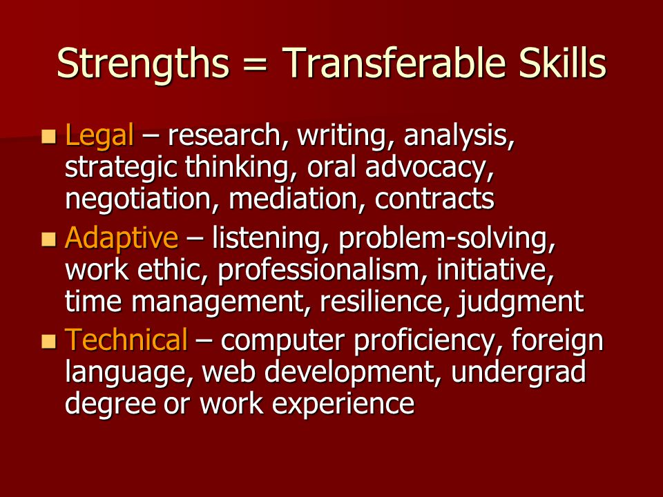 Strengths = Transferable Skills Legal – research, writing, analysis, strategic thinking, oral advocacy, negotiation, mediation, contracts Legal – research, writing, analysis, strategic thinking, oral advocacy, negotiation, mediation, contracts Adaptive – listening, problem-solving, work ethic, professionalism, initiative, time management, resilience, judgment Adaptive – listening, problem-solving, work ethic, professionalism, initiative, time management, resilience, judgment Technical – computer proficiency, foreign language, web development, undergrad degree or work experience Technical – computer proficiency, foreign language, web development, undergrad degree or work experience