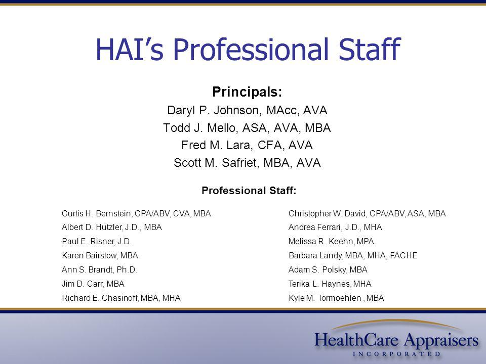 HAI's Professional Staff Principals: Daryl P. Johnson, MAcc, AVA Todd J. Mello, ASA, AVA, MBA Fred M. Lara, CFA, AVA Scott M. Safriet, MBA, AVA Profes
