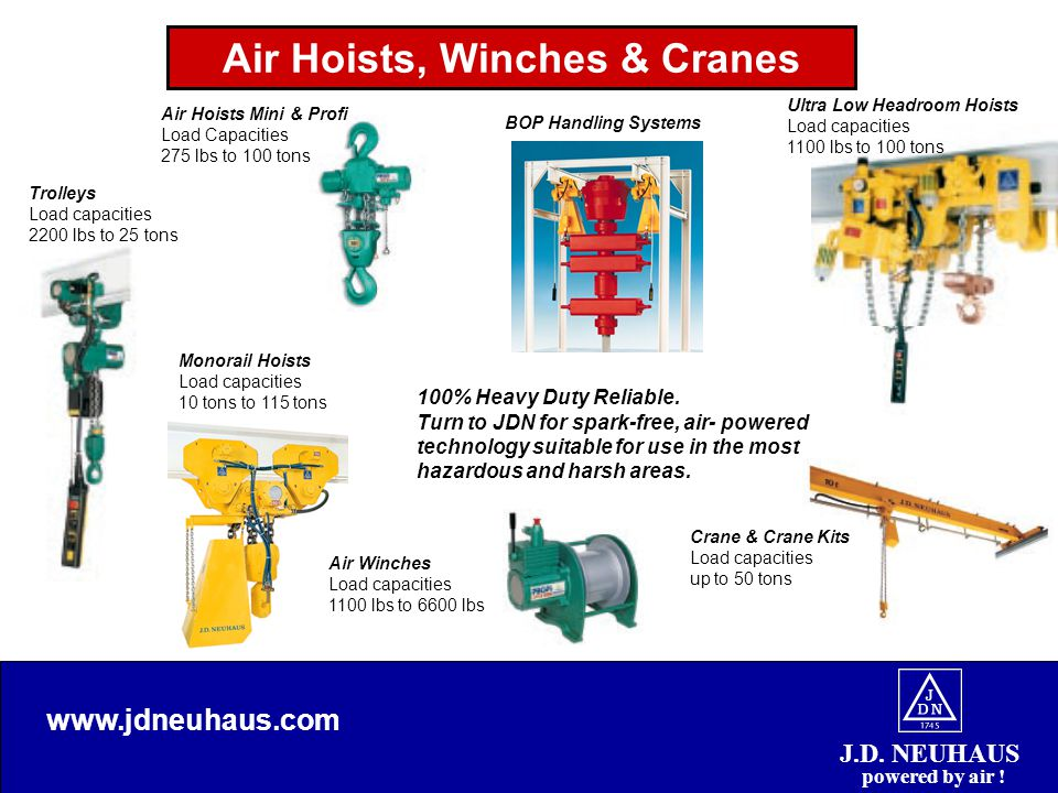 Air Hoists, Winches & Cranes J.D. NEUHAUS powered by air .
