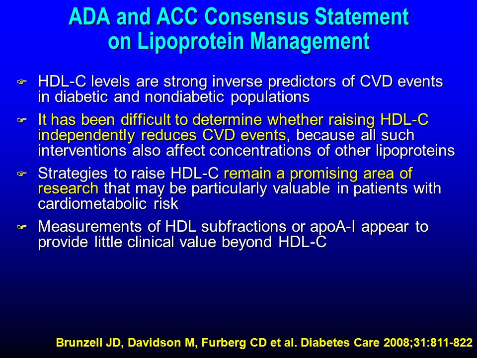 ADA and ACC Consensus Statement on Lipoprotein Management F HDL-C levels are strong inverse predictors of CVD events in diabetic and nondiabetic populations F It has been difficult to determine whether raising HDL-C independently reduces CVD events, because all such interventions also affect concentrations of other lipoproteins F Strategies to raise HDL-C remain a promising area of research that may be particularly valuable in patients with cardiometabolic risk F Measurements of HDL subfractions or apoA-I appear to provide little clinical value beyond HDL-C Brunzell JD, Davidson M, Furberg CD et al.