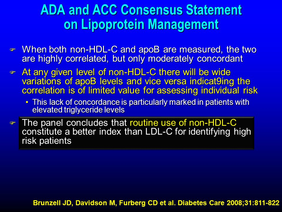 ADA and ACC Consensus Statement on Lipoprotein Management F When both non-HDL-C and apoB are measured, the two are highly correlated, but only moderately concordant F At any given level of non-HDL-C there will be wide variations of apoB levels and vice versa indicat9ing the correlation is of limited value for assessing individual risk This lack of concordance is particularly marked in patients with elevated triglyceride levelsThis lack of concordance is particularly marked in patients with elevated triglyceride levels F The panel concludes that routine use of non-HDL-C constitute a better index than LDL-C for identifying high risk patients Brunzell JD, Davidson M, Furberg CD et al.