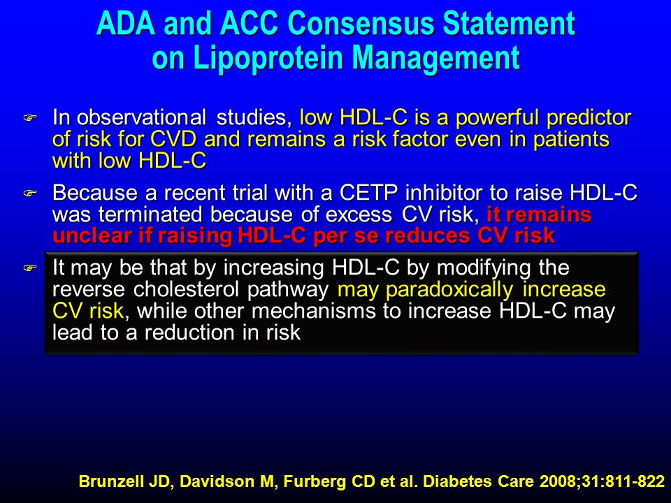 ADA and ACC Consensus Statement on Lipoprotein Management F In observational studies, low HDL-C is a powerful predictor of risk for CVD and remains a risk factor even in patients with low HDL-C F Because a recent trial with a CETP inhibitor to raise HDL-C was terminated because of excess CV risk, it remains unclear if raising HDL-C per se reduces CV risk F It may be that by increasing HDL-C by modifying the reverse cholesterol pathway may paradoxically increase CV risk, while other mechanisms to increase HDL-C may lead to a reduction in risk Brunzell JD, Davidson M, Furberg CD et al.