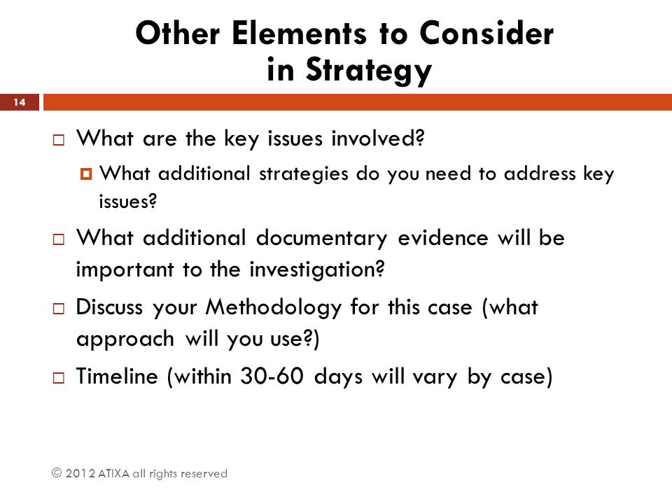 Other Elements to Consider in Strategy  What are the key issues involved?  What additional strategies do you need to address key issues?  What addi