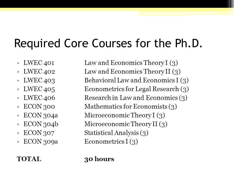 Required Core Courses for the Ph.D.