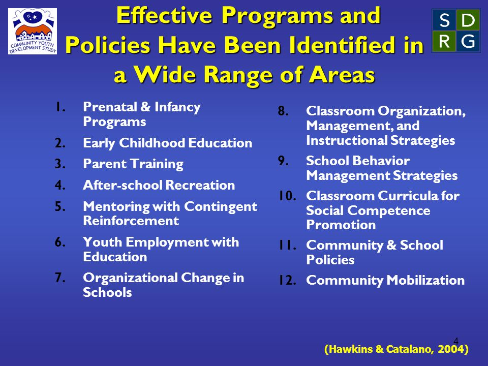 4 Effective Programs and Policies Have Been Identified in a Wide Range of Areas Effective Programs and Policies Have Been Identified in a Wide Range of Areas 1.Prenatal & Infancy Programs 2.Early Childhood Education 3.Parent Training 4.After-school Recreation 5.Mentoring with Contingent Reinforcement 6.Youth Employment with Education 7.Organizational Change in Schools 8.Classroom Organization, Management, and Instructional Strategies 9.School Behavior Management Strategies 10.Classroom Curricula for Social Competence Promotion 11.Community & School Policies 12.Community Mobilization (Hawkins & Catalano, 2004)