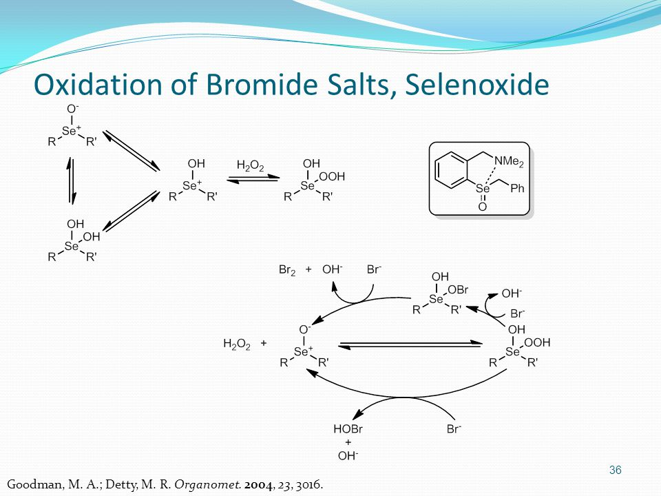 36 Oxidation of Bromide Salts, Selenoxide Goodman, M. A.; Detty, M. R. Organomet. 2004, 23, 3016.