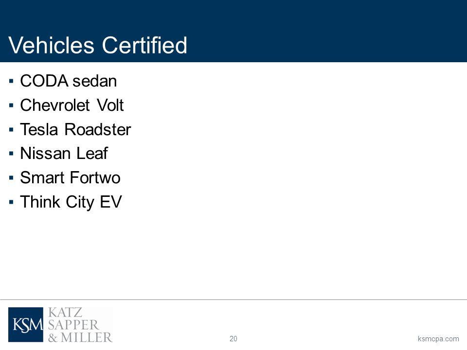 20ksmcpa.com ▪CODA sedan ▪Chevrolet Volt ▪Tesla Roadster ▪Nissan Leaf ▪Smart Fortwo ▪Think City EV Vehicles Certified