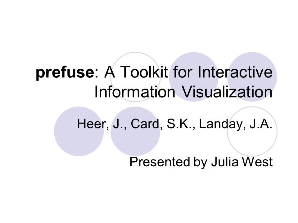 prefuse: A Toolkit for Interactive Information Visualization Heer, J., Card, S.K., Landay, J.A.