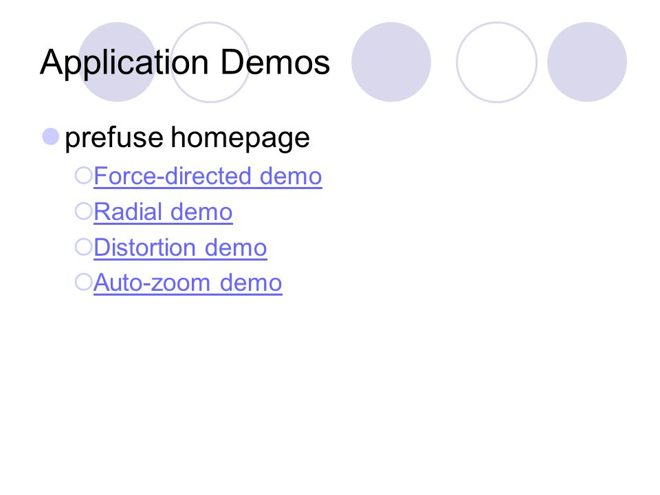 Application Demos prefuse homepage  Force-directed demo Force-directed demo  Radial demo Radial demo  Distortion demo Distortion demo  Auto-zoom demo Auto-zoom demo