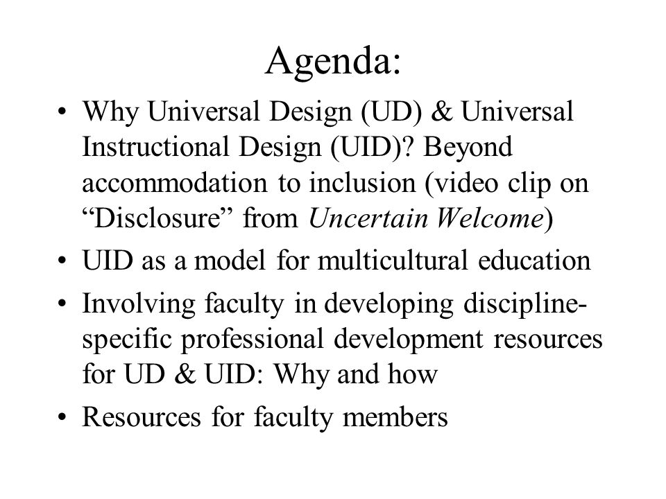UD for Multiculturalism Principle 6 Create inclusive and respectful policies and programs that, from the beginning, take into consideration the diverse student and employee populations at the institution and provide natural and cognitive supports to ensure full utilization of programs by students and employees Copyright: Cordano, R.