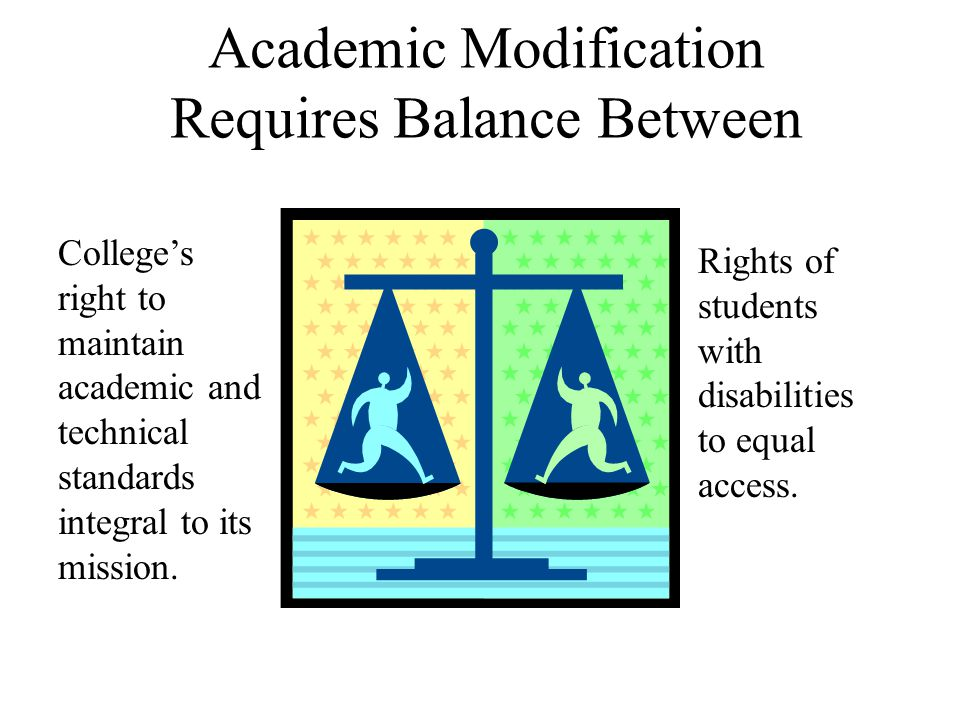 Academic Modification Requires Balance Between Rights of students with disabilities to equal access.