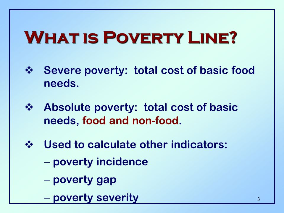 3 What is Poverty Line. Severe poverty: total cost of basic food needs.