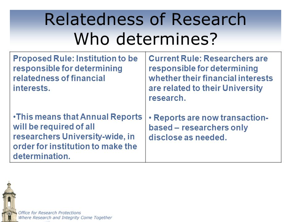 Relatedness of Research Who determines? Proposed Rule: Institution to be responsible for determining relatedness of financial interests. This means th