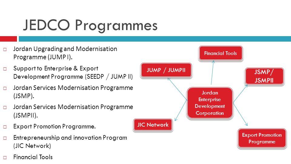 JEDCO Programmes  Jordan Upgrading and Modernisation Programme (JUMP I).