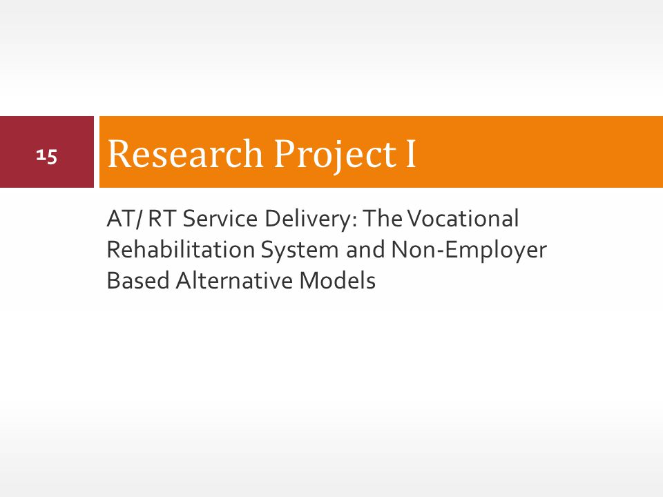 AT/ RT Service Delivery: The Vocational Rehabilitation System and Non-Employer Based Alternative Models Research Project I 15