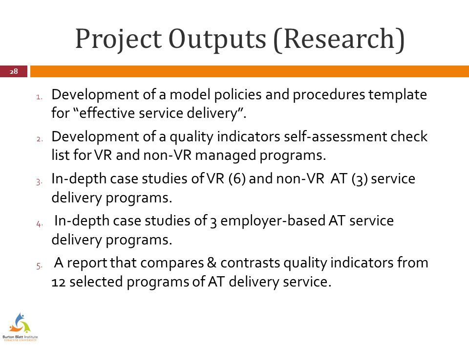 Project Outputs (Research) 1.