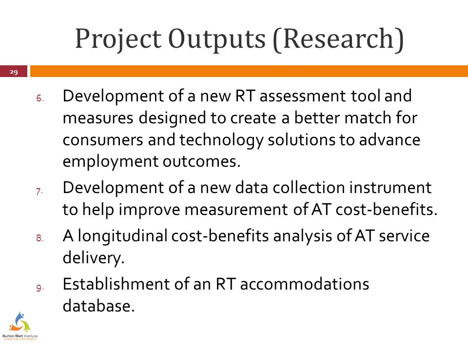 Project Outputs (Research) 6.