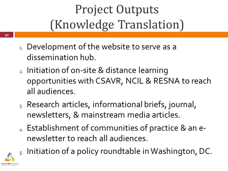 Project Outputs (Knowledge Translation) 1.