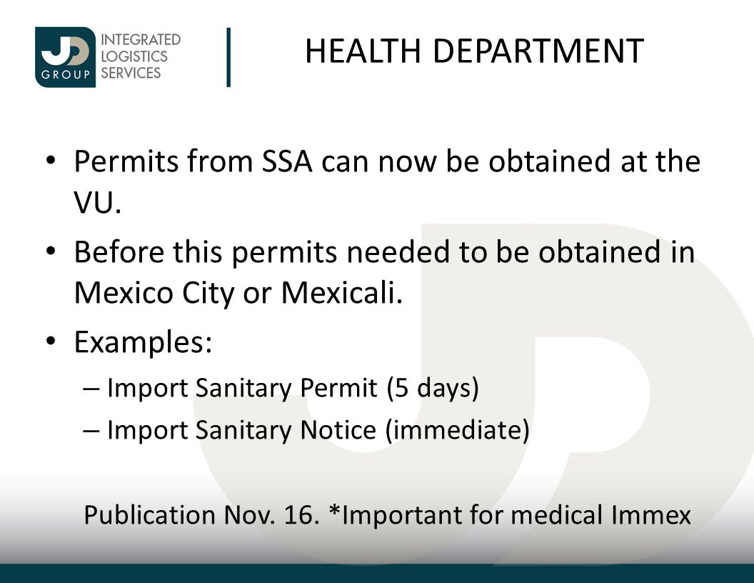 HEALTH DEPARTMENT Permits from SSA can now be obtained at the VU.