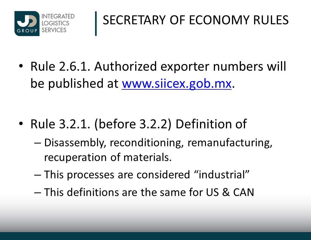 SECRETARY OF ECONOMY RULES Rule 2.6.1.